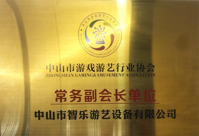 智乐中山市游戏游艺行业协会常务副会长证书